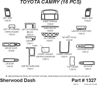 2002, 2003, 2004 Toyota Camry Wood Dash Kits   Sherwood Innovations 1327 N50   Sherwood Innovations Dash Kits