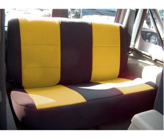 Coverking   Coverking Rear Black/Yellow Seat Covers Neoprene SPC136   Fits 1997 to 2002 TJ Wrangler