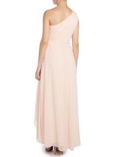 Lauren Ralph Lauren Addelston one shoulder gown with drape front Blush