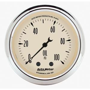 Auto Meter   Antique Beige Mechanical Oil Pressure Gauge