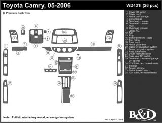 2005, 2006 Toyota Camry Wood Dash Kits   B&I WD431I DCF   B&I Dash Kits