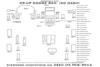 2009 2012 Dodge Ram Wood Dash Kits   Sherwood Innovations 3860 R   Sherwood Innovations Dash Kits