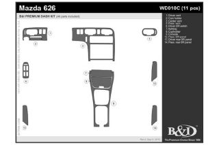 1993, 1994 Mazda 626 Wood Dash Kits   B&I WD010C DCF   B&I Dash Kits
