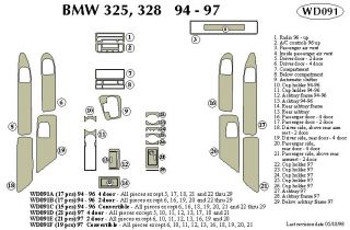 1997 BMW 3 Series Wood Dash Kits   B&I WD091D DCF   B&I Dash Kits