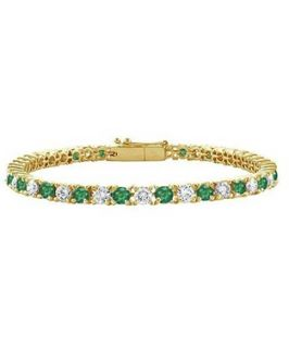 Bling Jewelry Bling Jewelry Green Cubic Zirconia Gold Plated Tennis Bracelet 7.5 Inch (360301501)