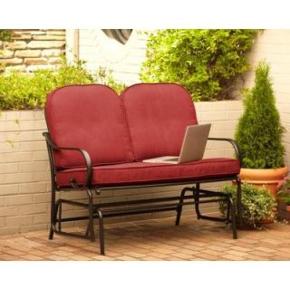 Hampton Bay Fall River Patio Double Glider with Dragonfruit Cushion DY11034 G R