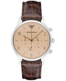 Emporio Armani Mens Chronograph Brown Leather Strap Watch 43mm AR1878