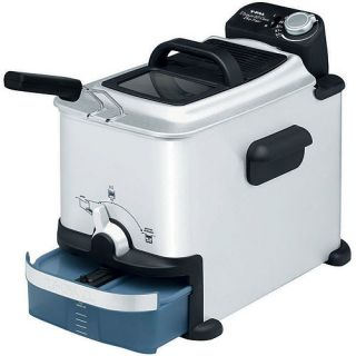 T fal, FR7008002, Ultimate EZ Clean Deep Fryer, Stainless Steel and Plastic , Silver and Blue