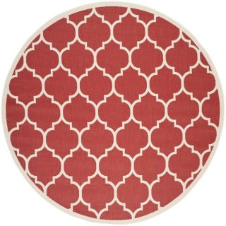 Safavieh Indoor/ Outdoor Courtyard Red/ Bone Area Rug (710 Round