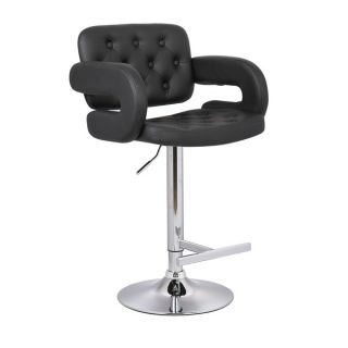 Modern Black Adjustable Button tufted Upholstered Barstool   16141072