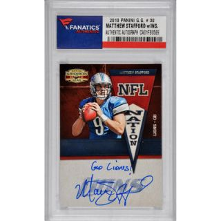 Matthew Stafford Detroit Lions  Authentic Autographed 2010 Panini Gridiron Gear #30 Card with Go Lions Inscription