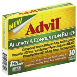 Advil Allergy & Congestion Relief Antihistamine, Pain Reliever/Fever Reducer & Decongestant Coated Tablets 10 Count