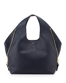 TOM FORD Jennifer Side Zip Leather Hobo Bag, Navy