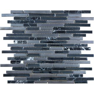 Anatolia Tile Indigo Porcelain Linear Mosaic Glass/Metal/Stone Marble Wall Tile (Common 12 in x 12 in; Actual 11.61 in x 12.55 in)