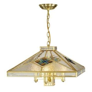 Dale Tiffany 5 Light Gold Pendant with Clear Fused Glass Shade STH12022