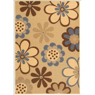 Safavieh Courtyard Natural Brown/Blue 5 ft. 3 in. x 7 ft. 7 in. Indoor/Outdoor Area Rug CY4035B 5