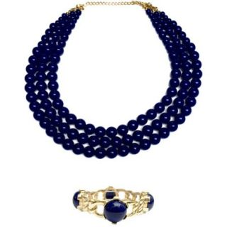 Navy Blue Bold Beaded Strands Fashion Necklace and Gold Cuff Fashion Bracelet Set