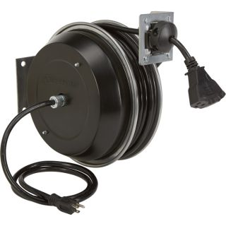 Strongway Retractable Cord Reel — 50-Ft., 12/3, Triple Tap  Cord Reels