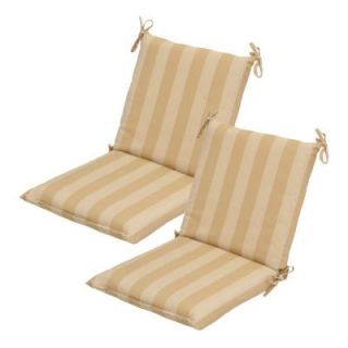 Hampton Bay Roux Stripe Mid Back Outdoor Chair Cushion (2 Pack) DISCONTINUED 7410 02001600