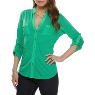Miss Tina Women's Knit Boyfriend Shirt