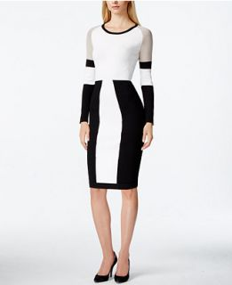 Calvin Klein Petite Colorblocked Sweater Dress   Dresses   Women
