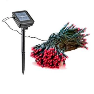 2 Pack 39 Foot Solar Outdoor Christmas Holiday String Lights with 100 Red LED