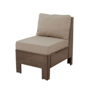 Hampton Bay Beverly Patio Sectional Middle Chair with Beverly Beige Cushion 65 610233M