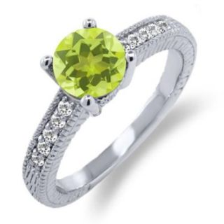 1.30 Ct Round Yellow Lemon Quartz White Sapphire 925 Sterling Silver Ring