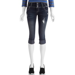 No Boundaries Juniors 3 Button Denim Crop Jeans