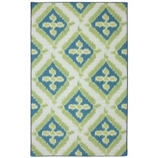 Mohawk Home Summer Splash Blue Rectangular Outdoor Tufted Area Rug (Common 5 x 8; Actual 60 in W x 96 in L x 0.5 ft Dia)