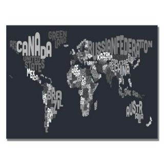 30 in. x 47 in. Font World Map VII Canvas Art MT0044 C3047GG
