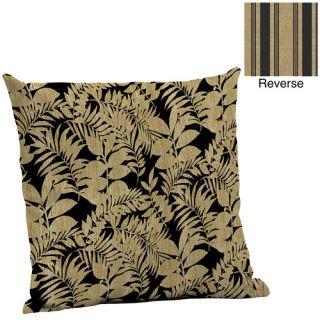 Mainstays Deep Seat Pillow Back Outdoor Cushion, Black and Tan Leaf