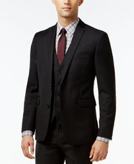 Bar III Black Solid Extra Slim Fit Jacket