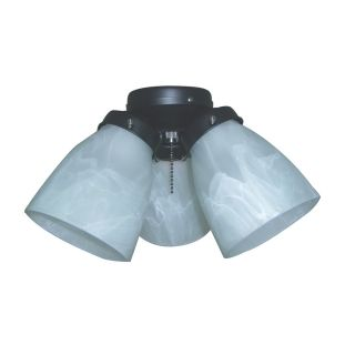 Harbor Breeze 3 Light Matte Black Ceiling Fan Light Kit with Cone Shade
