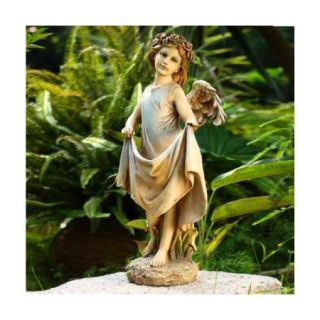 "19"" Delightful Angel Bird Feeder Outdoor Patio Garden Statue"