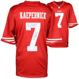Colin Kaepernick San Francisco 49ers  Authentic Autographed Red Nike Jersey with NFL QB Record 181 Yds Rushing Inscription