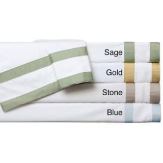 Egyptian Cotton Sateen 520 Thread Count Double Banded Sheet Set King White With Gold