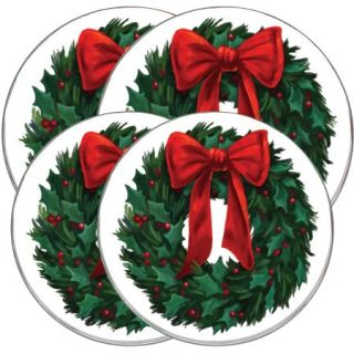 "Range Kleen 4 Piece Burner Kover Set, Round, Decorative ""Christmas Wreath"""
