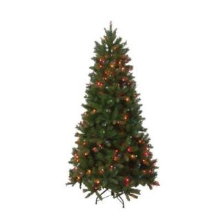 National Tree Company 6.5 ft. Pre Lit FEEL REAL Bavarian Pine Hinged Artificial Christmas Tree with 400 Multi Color Lights PEBV7 308E 65