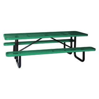 "APPROVED 62""D x 96""W Rectangle Expanded Metal Picnic Table, Green   4HUR8