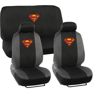 BDK Superman Car Seat Covers   Full Set Plus Steering Wheel Cover and