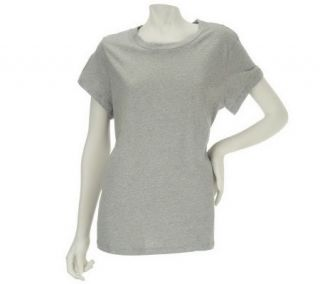 Isaac Mizrahi Live Short Sleeve Crew Neck Heathered Tee —