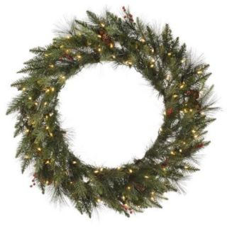 "30"" Pre Lit Vallejo Mixed Pine Artificial Christmas Wreath   Warm Clear LED Lights"
