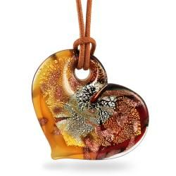 Yellow and Red Murano Glass Gold and Silver Foil Heart Necklace