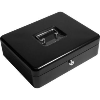 BARSKA 0.12 cu. ft. Steel Cash Box and Coin Tray Safe with Key Lock, Black CB11790