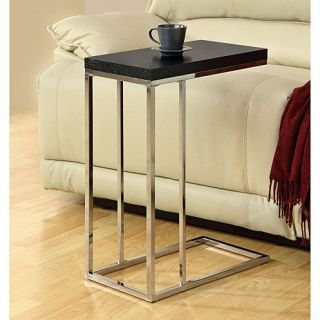 Monarch Specialties I3007 Hollow Core Chrome Metal Accent Table in Cappuccino