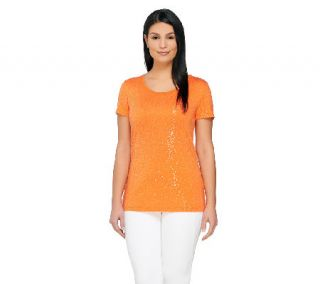 Isaac Mizrahi Live Short Sleeve Scoop Neck Sequin T Shirt —