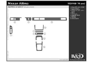 1995, 1996, 1997 Nissan Altima Wood Dash Kits   B&I WD016B DCF   B&I Dash Kits