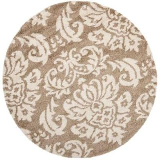 Safavieh Florida Shag Beige/Cream 4 ft. x 4 ft. Round Area Rug SG460 1311 4R
