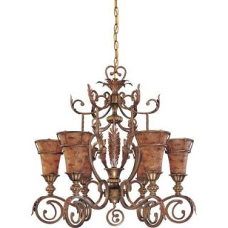 Glomar Marmount   6 Light 31 in. Chandelier with Art Nouveau Glass Antique Gold DISCONTINUED HD 1522